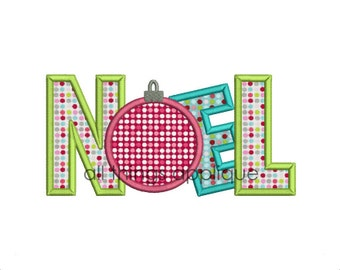 NOEL with Ornament Applique Design (199) - Christmas Applique Designs - 4 Sizes - INSTANT DOWNLOAD