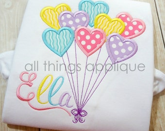 Heart Balloons Applique Design - SATIN Stitch (#597) - Valentine Applique Design - INSTANT DOWNLOAD