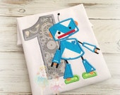 Blue Robot Birthday Shirt- Custom embroidery- Applique Shirt- Blue Chevron