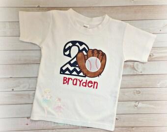 Baseball birthday shirt- Boys first birthday shirt - baseball glove - baseball mit shirt - baseball birthday - custom embroidered shirt