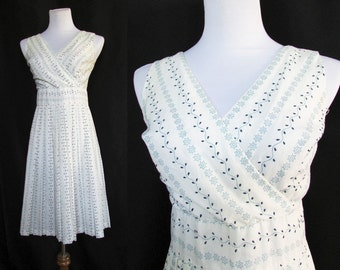 Vintage 60s Dress // 60s Summer Dress // Vintage White Dress Small