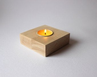 Unfinished Wood Candle Holder / Square Wooden Tea Light Holder / Modern Candle Holder / Wooden Centerpiece
