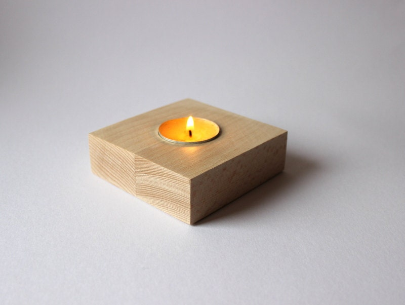 Unfinished Wood Candle Holder Square Wooden Tea Light Holder