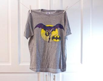 80s RARE Batman T shirt - Vintage DC Comics grey tshirt - Logo 7