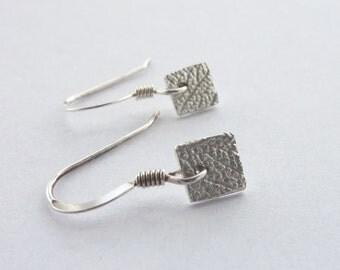 Mini Silver Leaf Pattern Square Earrings - Fine Silver Leaf Earrings on Sterling Silver Hooks, Free UK Postage