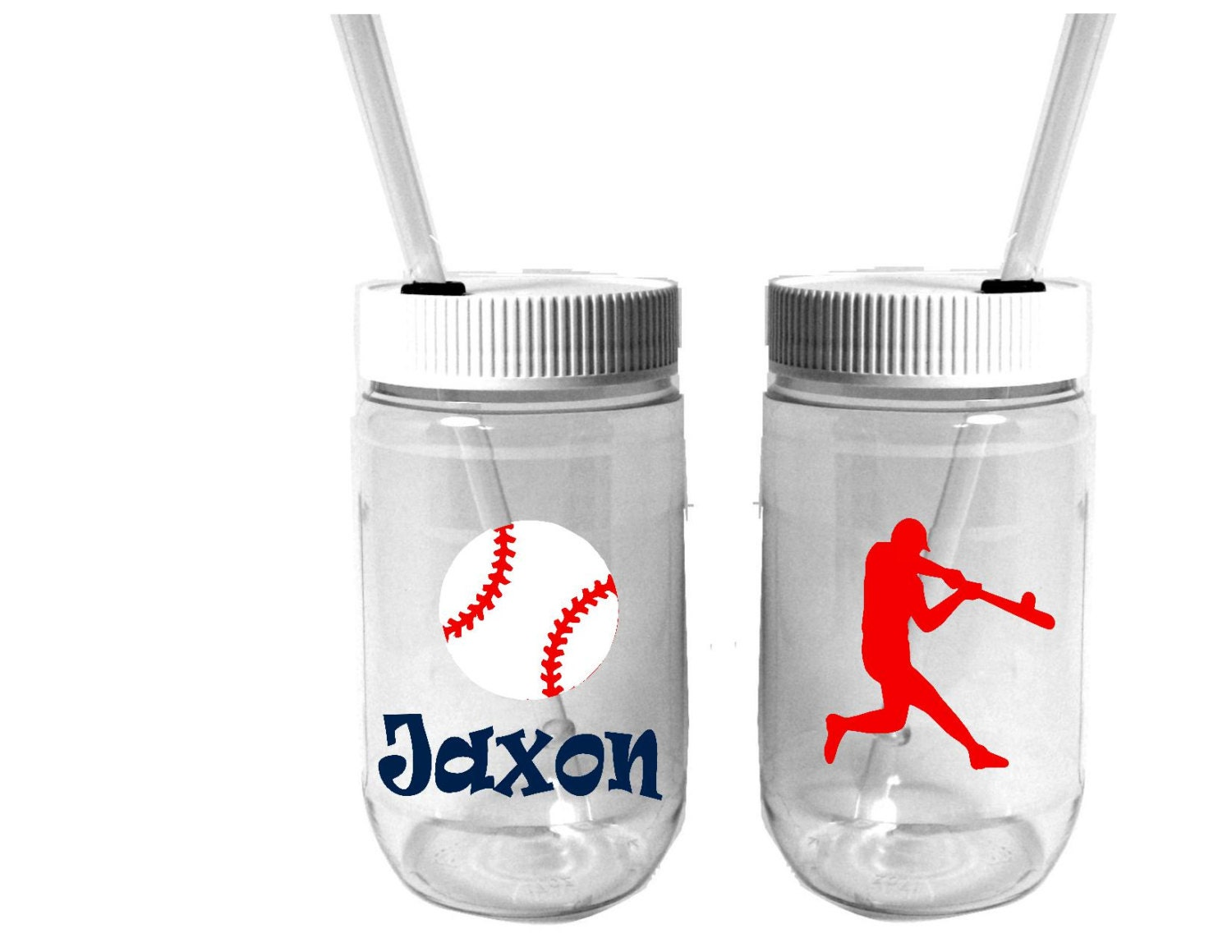 Personalized plastic mason jar cups by rememberedoncemore for Custom cosmetic jars