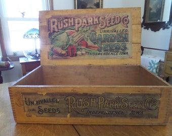 Antique Rush Park Seed Box...Primitive Country Store Folk Art General Store Garden Farmer Cottage Chic Rustic Shaker Vegetable Packets Grow