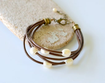 Leather and Pearl Bracelet, Brown Leather Cord with Freshwater Pearls and Bronze Hardware, Gift Boxed