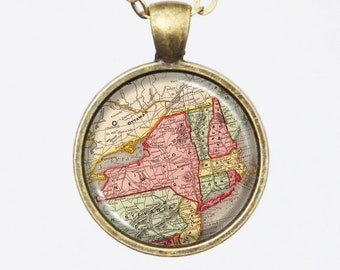 New York, Personalized State Map Necklace - New York State -Custom Vintage Map Series