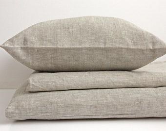 Linen Duvet Cover Welna White & Gray beige