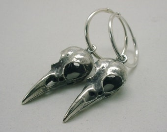 Tiny 1'' Raven Skull Earrings, Sterling Silver