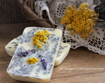 Lemon & Lavender Premium wax cakes soy and beeswax melting tarts wax cakes yellow made in Montana