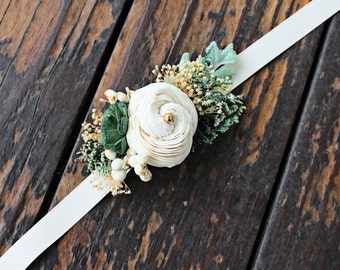 Luxe Wedding Corsage - Dusty Miller, Mother of the Bride, Natural Wedding, Shabby Chic Rustic Wedding