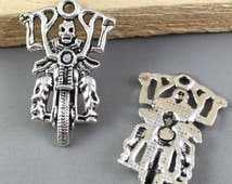 5pcs Antique Silver Skull Riding Motorcycle Charm Pendants 28x44mm Large size AB308-3