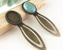 4pcs 18x25mm Antique Bronze Brass Oval Cameo Cabochon Base Setting Bookmark G208-6