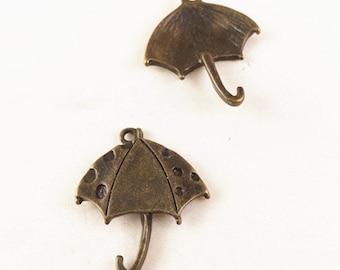 15pcs Antique Bronze Lovely Umbrella Charm Pendants 23x26mm TB25094