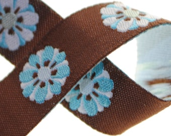 Flowers Blue and Brown Jacquard Trim 5/8 inches wide - 2 Yards