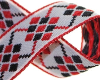 Argyle - Red and Black over White 2 Yards Jacquard Trim 17mm wide