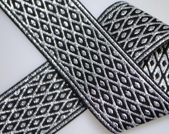 Diamond Net Black and Silver Woven Jacquard Trim 39mm wide - One, Two, Five, or Ten Yards
