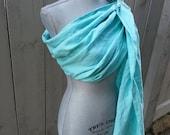 Seafoam Green Linen Ring Sling, Gathered Shoulder, Pure Linen