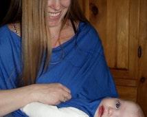 Blue Modal Nursing Poncho, Skin to Skin Vest, Beach Wrap, Stroller Cover, SALE