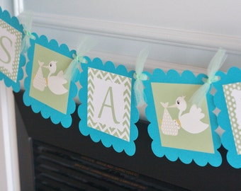 "Baby Shower Light Green & Turquoise Blue Stork Theme ""It's a Girl"" or ""It's a Boy"" Baby Shower Banner - Ask About Party Pack Specials"