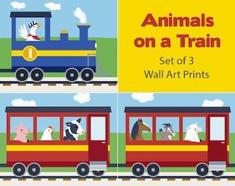 Train Wall Art - Barnyard Animal Nursery Decor - Horse, Goat, Sheep, Duck, Pig, Chicken, Cow (Set of 3 Prints)