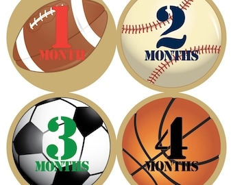 Sports - Baby Monthly Milestone Stickers, Baby Stickers, Monthly Stickers, Month Stickers, First Year Belly Sticker, First Year Stickers