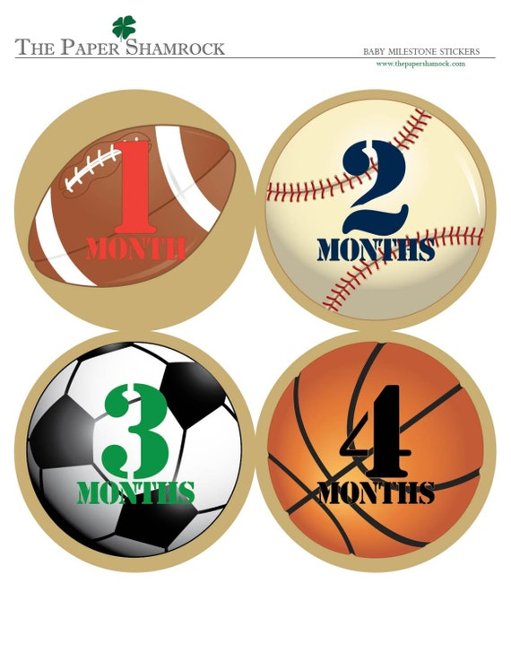 Sports - Baby Monthly Milestone Stickers, Baby Stickers, Monthly Stickers, Month Stickers, First Year Belly Sticker, First Year Stickers