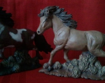 "Ceramic Horse Sculpture-Pair of 2-Handpainted-8"" Long"