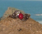 Sterling silver coral ladies / womens ring