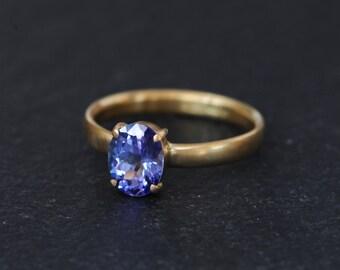 18K Gold Tanzanite Ring - Tanzanite Gold Engagement Ring - Oval Tanzanite set in 18K Gold - Tanzanite Ring Size 7.25 - Free Shipping