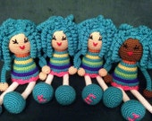 Crochet Doll in Bubble Gum Ice Cream Colors, African Plush Blue Curls twists Locks Natural Hair Stuffed Toy Baby Girl Gift MADE TO ORDER