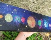 "Solar System Painting, Glitter Art, 6""x12"""