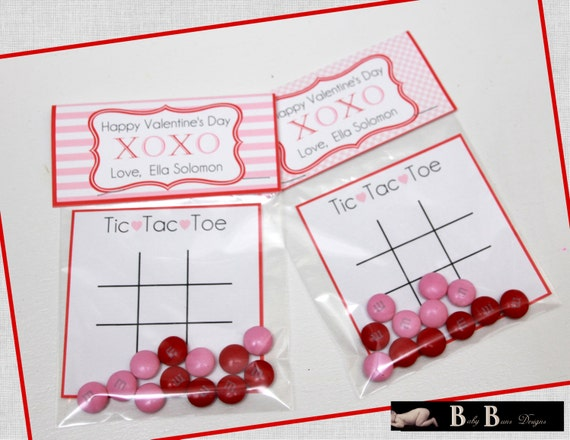 Valentine's Day Card- Tic Tac Toe- Treat Bag Topper- Pink & Red- Printable or Shipped
