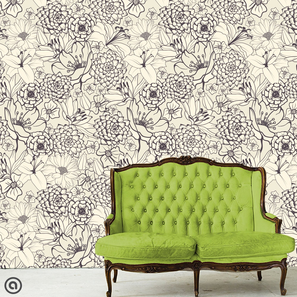 removable wallpaper just sketched peel stick self adhesive. Black Bedroom Furniture Sets. Home Design Ideas