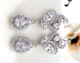 Bridal Earrings White Gold Clear White Cubic Zirconia White Gold Fancy Post Wedding Earrings