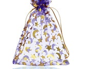 5  x 7  inch Large  Size Lot of 10 Purple Moon and Stars Organza Bags