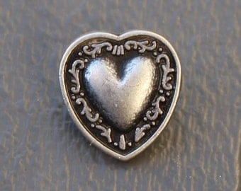"""2 Small Metal Heart Buttons with Scroll Detail and Shank Back - 1/2""""  0.5 inch"""