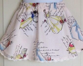 Disney Princess skirt/Snow White Skirt/Cinderella Skirt/Belle Skirt/Disney Princess Birthday Skirt/Girls Twirl skirt