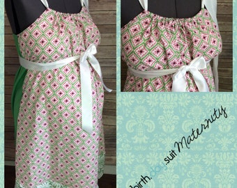 Maternity Hospital gown: SALE- pink and green floral front, green back, damask band