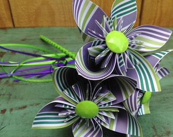 Flower Girl Wand with Paper Flowers in Purple and Green