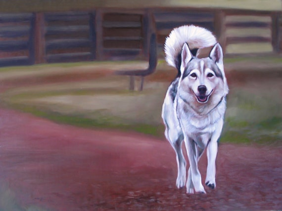 CUSTOM PET PORTRAIT - Painting of Husky - Oil Painting - Dog Portrait