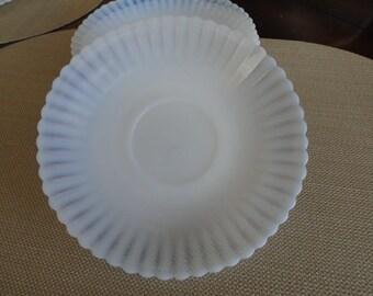 A435)  Vintage Monax Petalware Glass Saucers   MacBeth Evans
