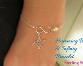 Hummingbird bracelet- STERLING SILVER infinity link charm bracelet choice of pearl bridesmaids bracelet humming bird bracelet, bird bracelet
