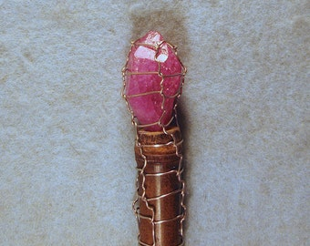 Light Red Color Crystal Wand with Healing Brazil Quartz Crystal