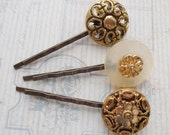 Set of Three Retro Gold Button Bobby Pins Hair Jewellery