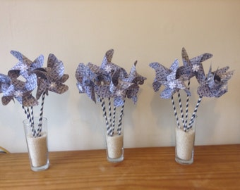 Paper pinwheels blue and white