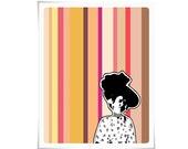 Graphic Digital Art Print Pantone Pretty Woman Lady WWII Vintage Print Painting Illustration Decor Feminine Orange Pink