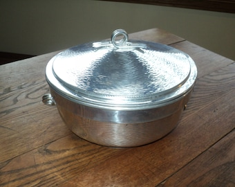 Vintage Solid Aluminum Serving Dish with Covered Lid, Made in Italy in Vintage Condition